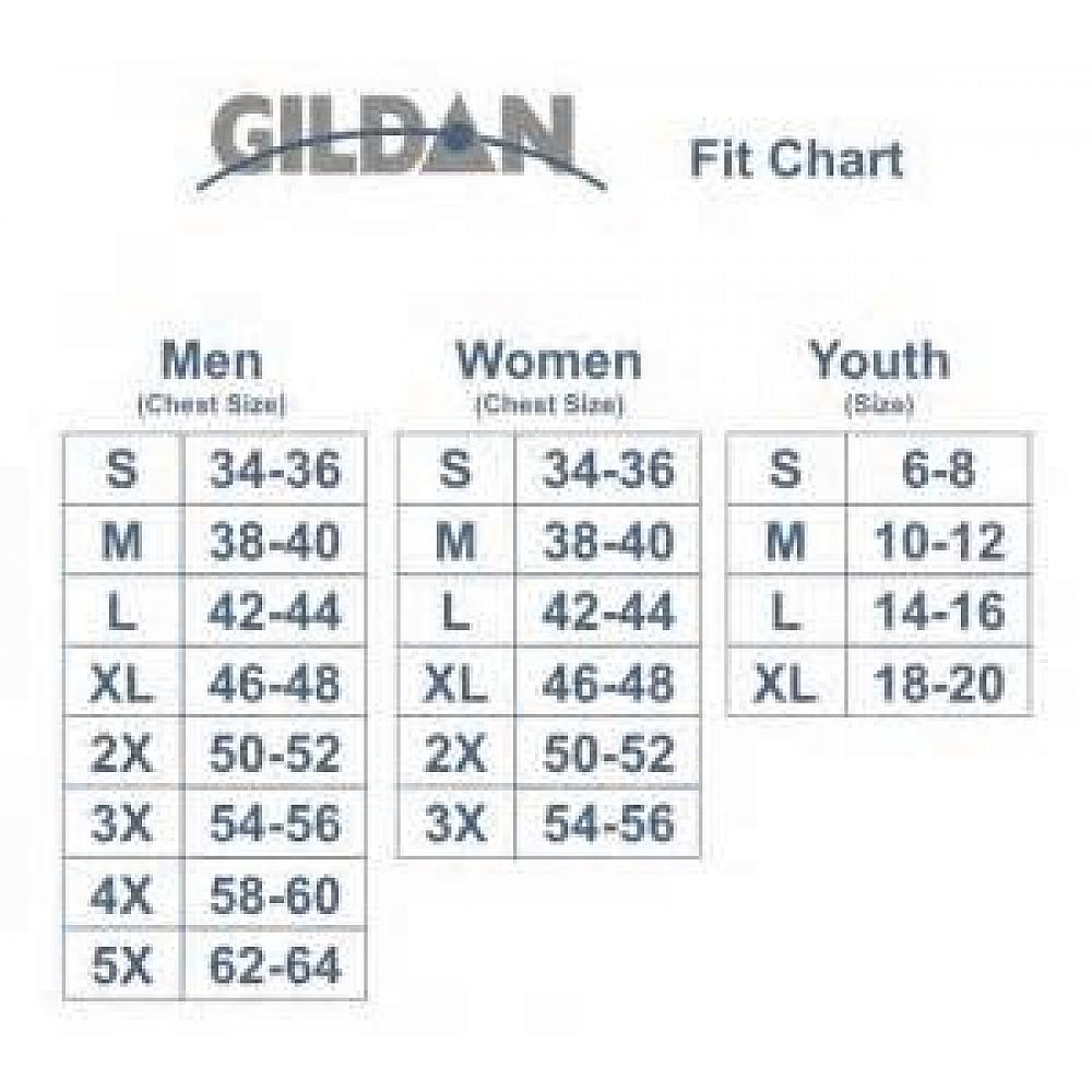Gildan unisex sizing chart