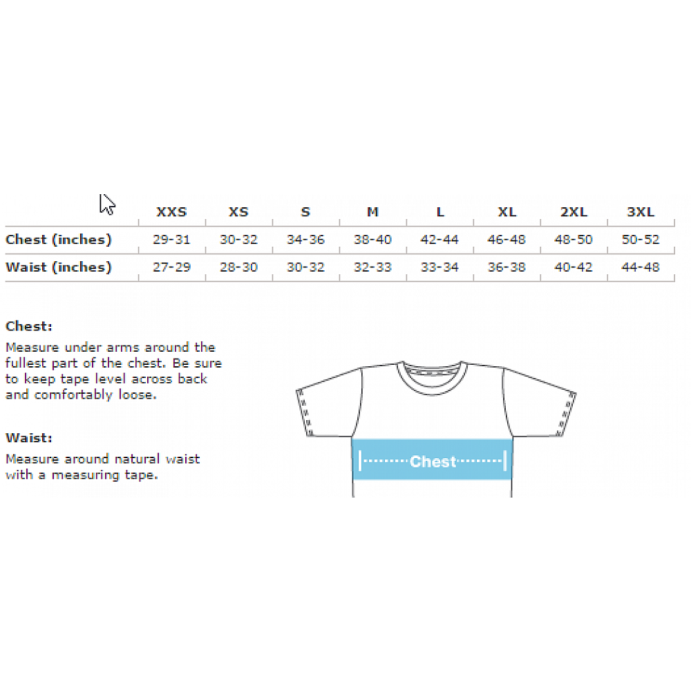 Apparel sizing chart
