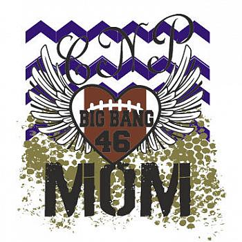 FOOTBALL MOM HEART WITH WINGS